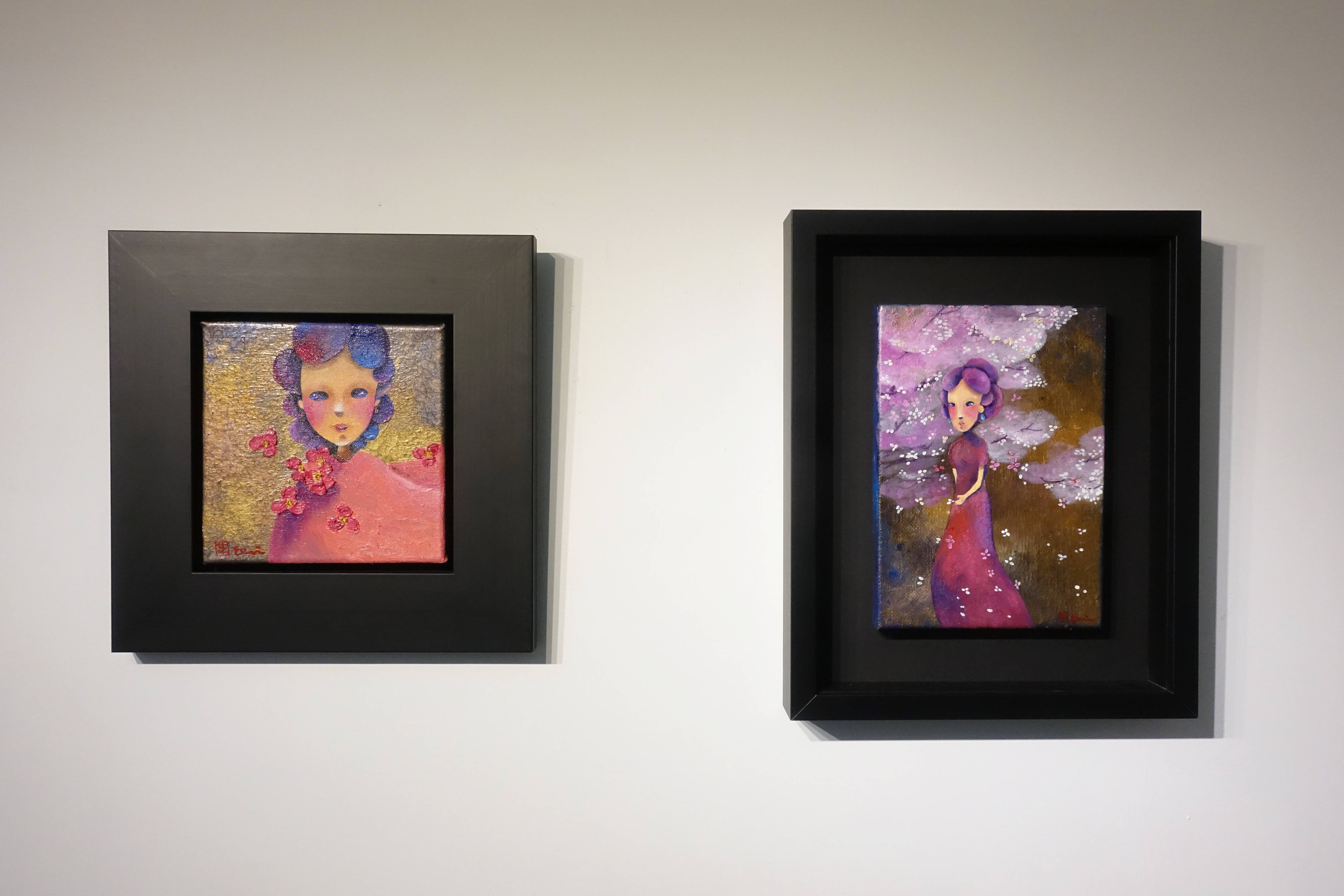 東明相,《我擁有你(老娘NO.28)左》《櫻花雨夜(老娘NO.24)右》,油畫,2018。