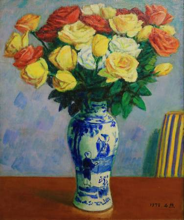 李石樵 玫瑰花 1978年 45.5x38cm(8F) 油彩畫布 / LEE Shih-Chiaou, Roses, 1978, 45.5x38cm, Oil on canvas