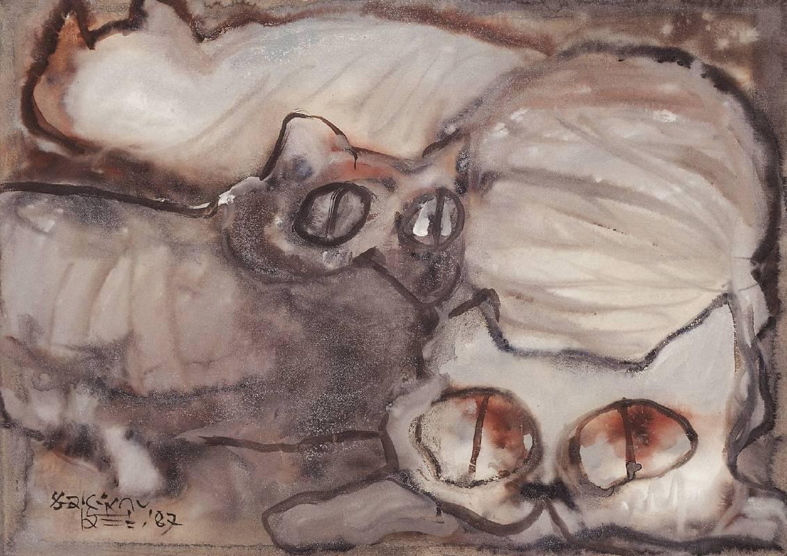劉其偉, 一群貓咪, 1987年, 35x49.5cm, 複合媒材.紙 / Max LIU, Cats, 1987, 35x49.5cm, Mixed media on paper