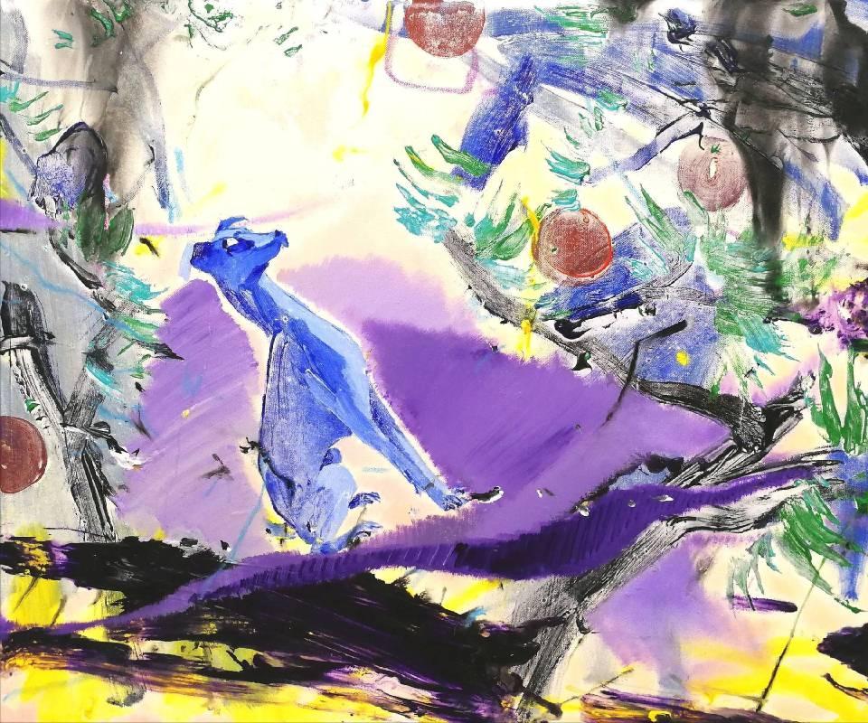 蔡宜儒,藍紫色風情,60.5 x 72.5 cm,壓克力彩、畫布,2018年 / TSAI Yi-Ju, Hyacinth Blue Scenery, 60.5 x 72.5 cm, Acrylic on Canvas, 2018