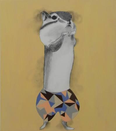 宮城勝規,松鼠巧士達,53 x 45.5 cm,壓克力彩、畫布,2016年 / MIYAGI Katsunori, Squirrel Custard,  53 x 45.5 cm, Acrylic on Canvas, 2016
