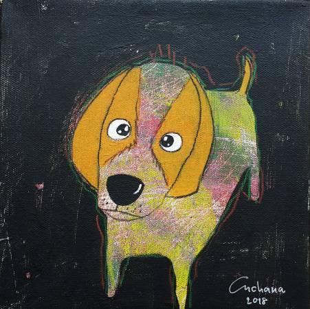 安恰娜‧恰麗亞琵朋,黑色系列:寵愛狗狗 #5, 20 x 20 cm,壓克力彩、畫布,2018年 / Anchana Chareeapaorn, Black Series: Love Puppy #5,  20 x 20 cm, Acrylic on Canvas, 2018