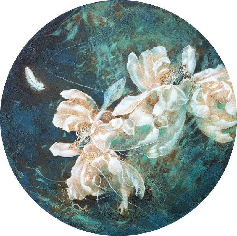 孫翼華Sun, Yi-Hua - 漂向北方ⅠDrifting to the NorthⅠ( 2018  水墨、膠彩、壓克力、木質材料  Ø35cm ) ( 心晴美術館 Wellington Gallery )