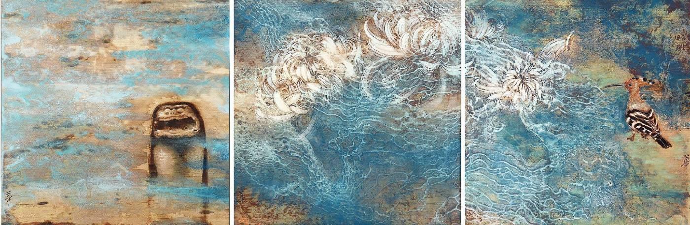 孫翼華Sun, Yi-Hua - 觀花Ⅱ ( 2017  水墨、膠彩、壓克力、木質材料  35 x 140cm ) ( 心晴美術館 Wellington Gallery )