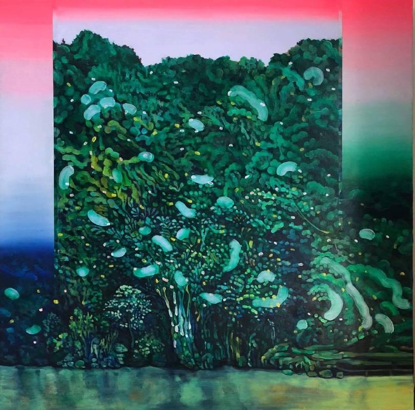 高雅婷,碧潭( 2018  油彩畫布  120x120cm)  ( 心晴美術館 Wellington Gallery )