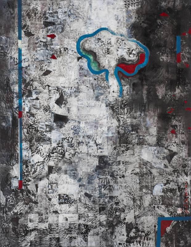 獨樹, 116x91cm, 壓克力彩、水墨、Gesso、畫布, 2015