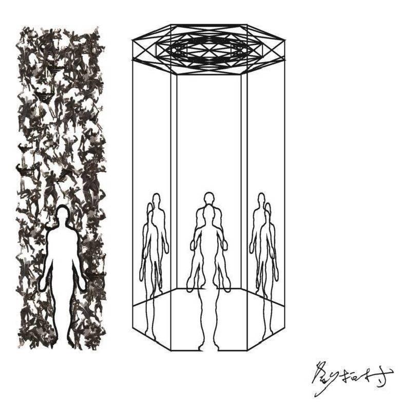 劉柏村, 八方維度之金剛造像, 鐵、馬達、Led變色, 300x300x400 cm, 2018