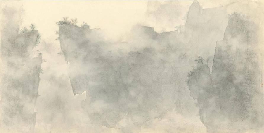 蘇崇銘 蒼岩霧靄 水墨紙本 70x137cm 2018