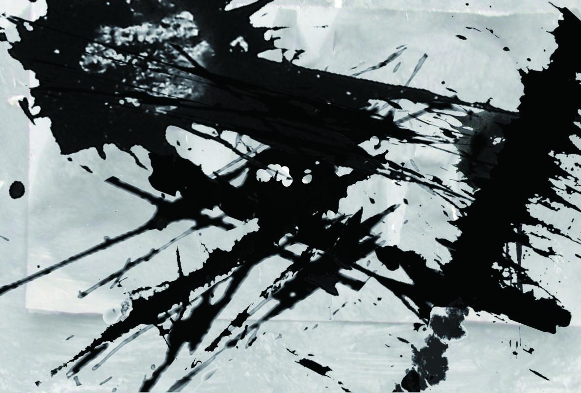 洪耀_水墨彈線-虛(彈中國字 世界)99.5X68CM 水墨紙本