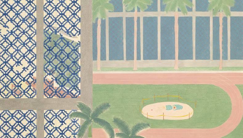 就像和平常一樣的午後2013絹本設色58×100 cm
