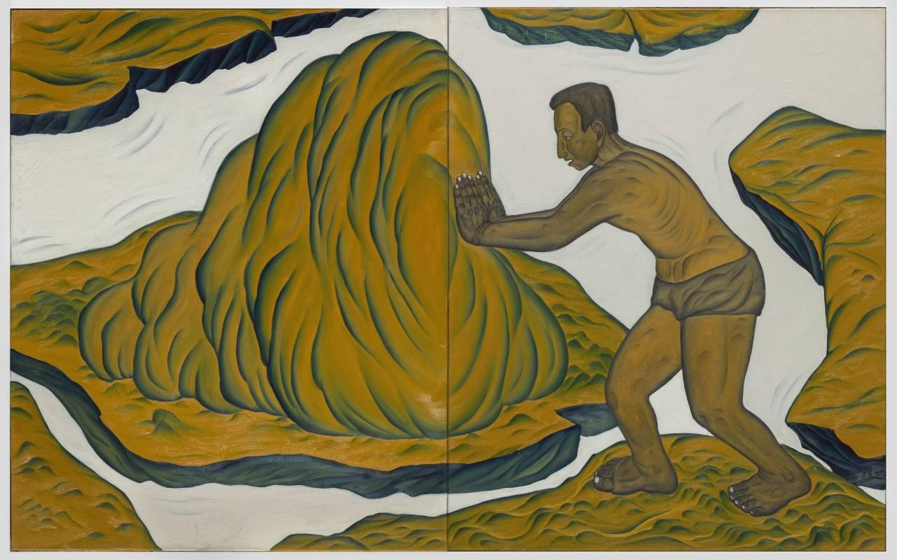 鄭建昌 1999 地圖板塊運動 油彩畫布 259×162cm