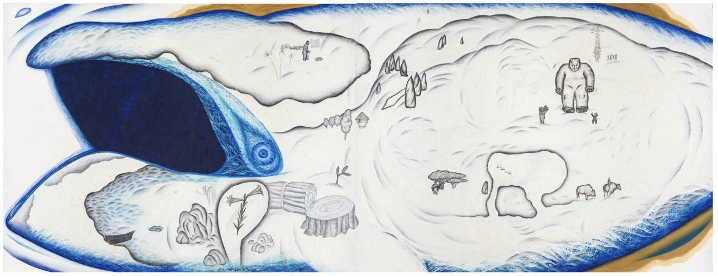鄭建昌 1999 鯨紋傳奇 油彩畫布 520×194cm