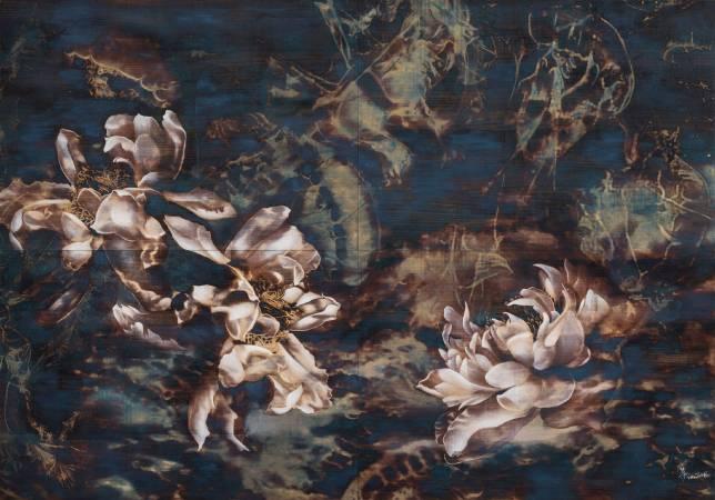 孫翼華Sun, Yi-Hua - 羽縹 Silence Beyond ( 2017-2018  水墨、膠彩、壓克力、木質材料  140 x 200cm ) ( 心晴美術館 Wellington Gallery )