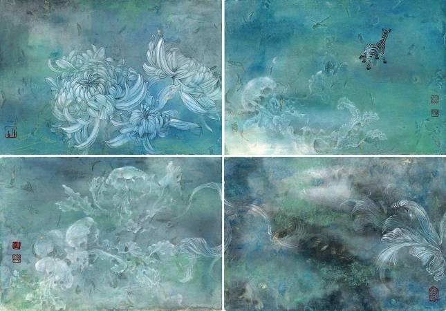 孫翼華Sun, Yi-Hua - 花雨滿天ⅡPure Land WithinⅡ ( 2016  彩墨、蒜膜紙  52 x 74cm ) ( 心晴美術館 Wellington Gallery )
