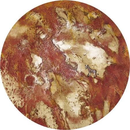 孫翼華Sun, Yi-Hua - 踽獨行 ( 2018  水墨、膠彩、壓克力、木質材料 Ø35cm ) ( 心晴美術館 Wellington Gallery )