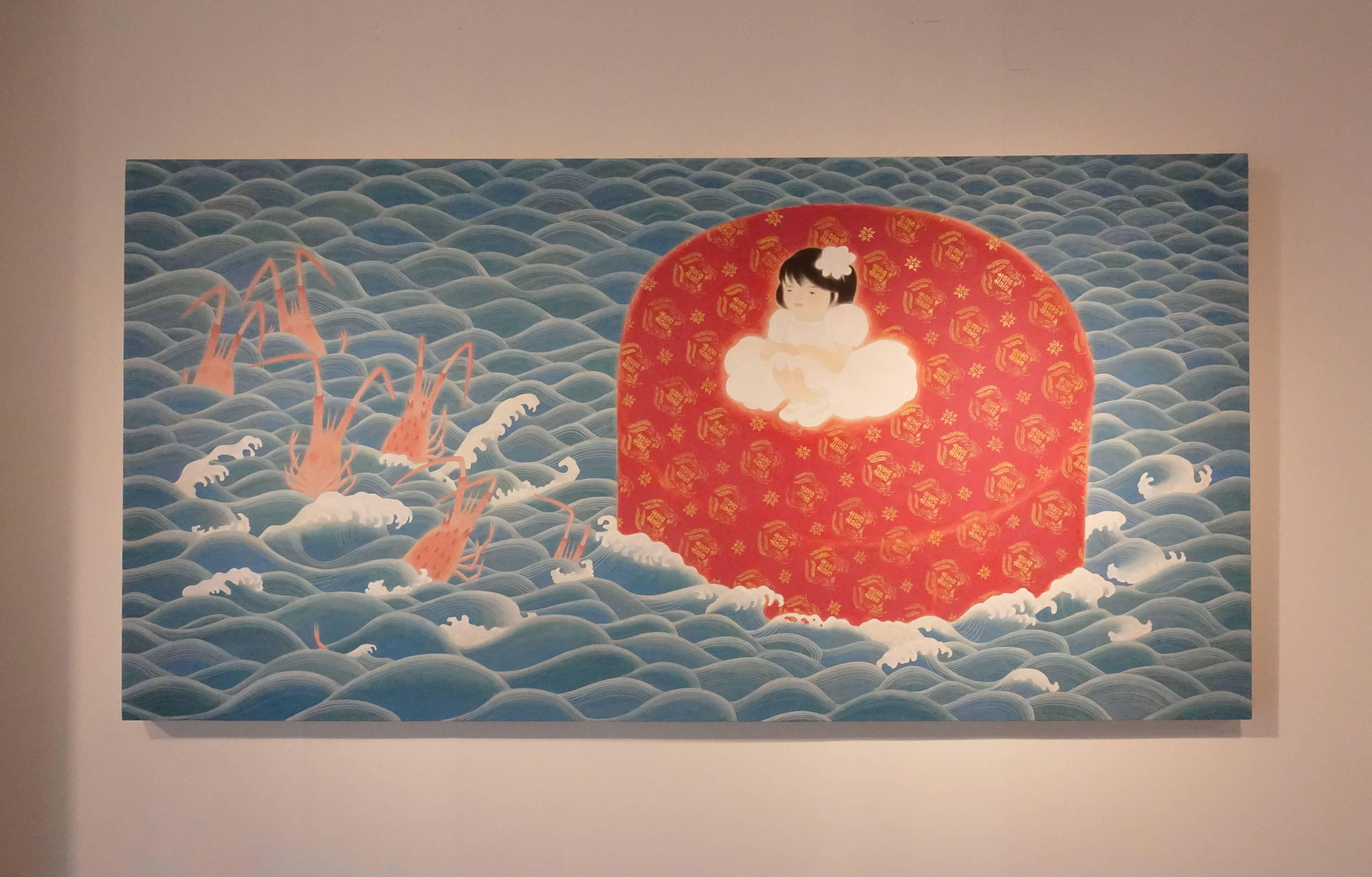 葉采薇,《流水席》,2018,紙本設色,90×180cm。