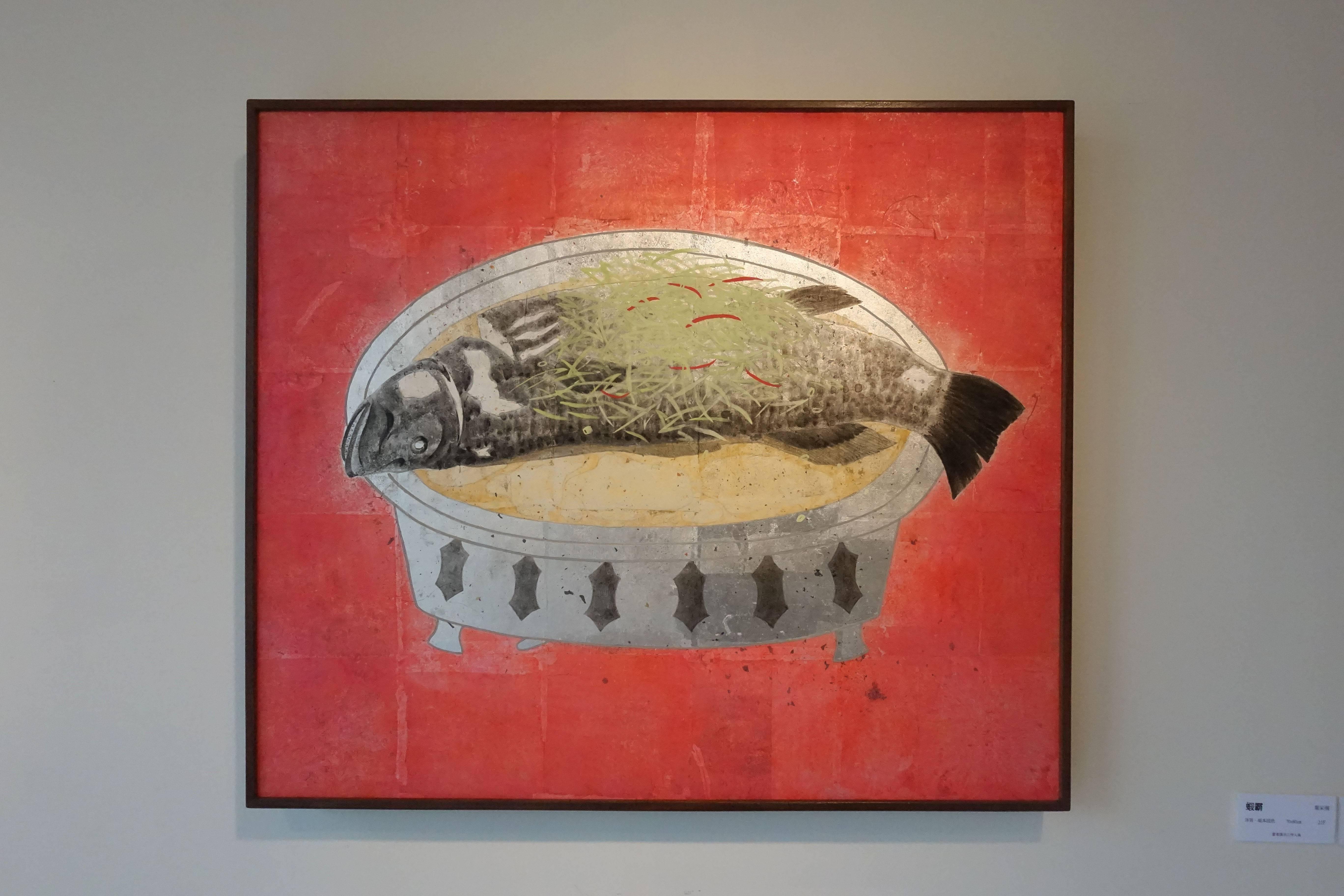 葉采薇,《魚眼睛》,2017,銀箔、紙本設色,60 x 70 cm。