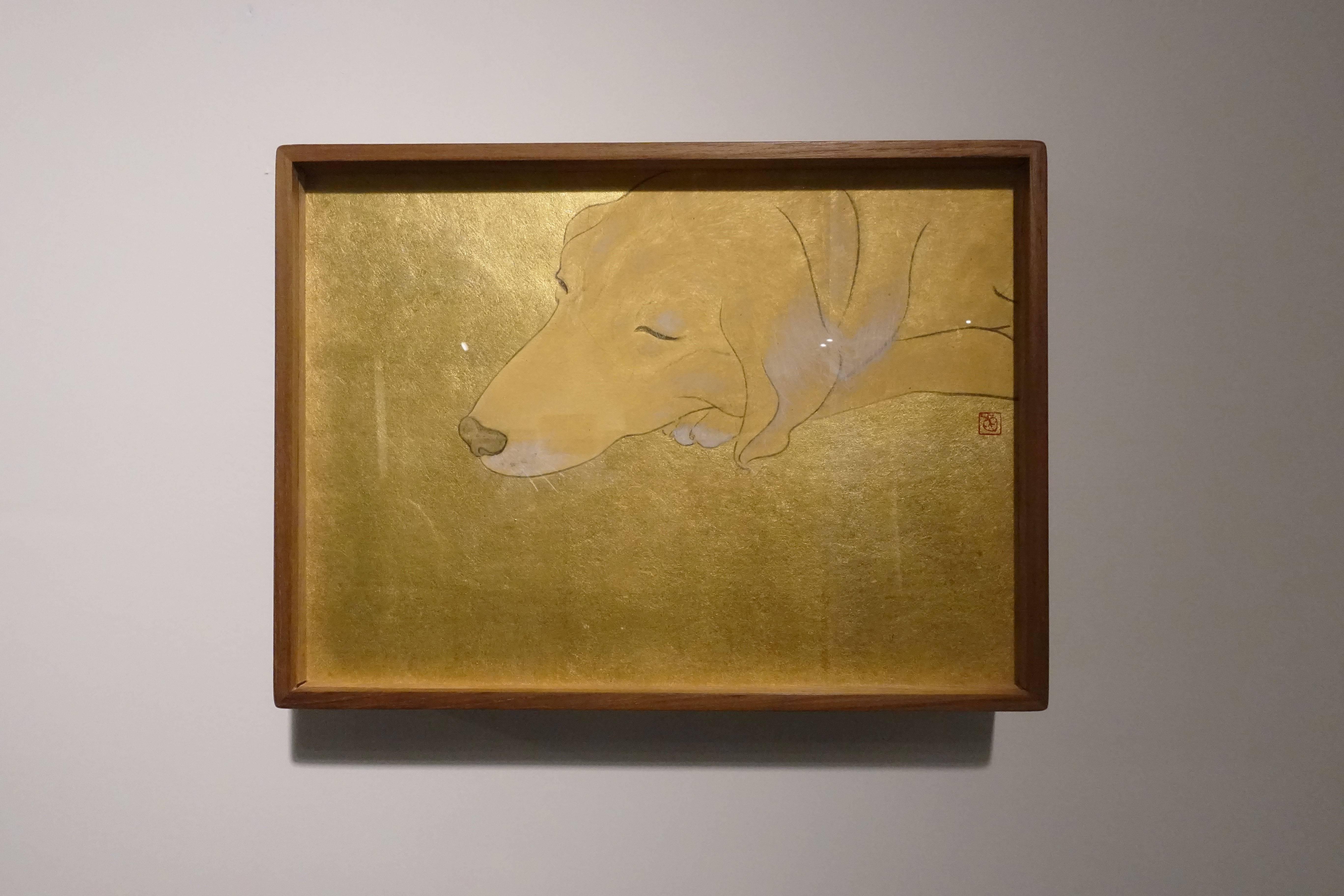 葉采薇,《摳喇》,2017,金箔、紙本設色,21 x 29 cm。
