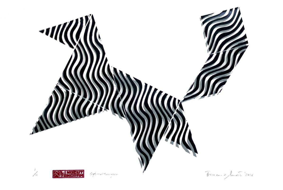 Francesco Moretti Squirrel 50x70cm 七巧板linocut two colors print 2018