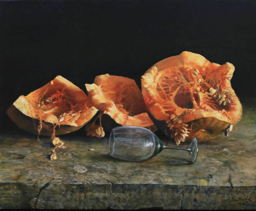 胡文賢, 南瓜與酒杯, 2018年, 54x65cm(15F), 油彩畫布