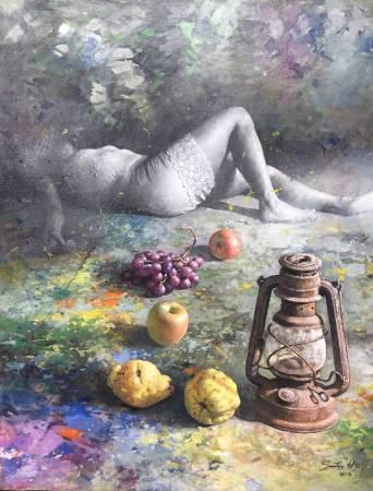 胡文賢, 憩, 2018年, 81x65cm(25F), 油彩畫布
