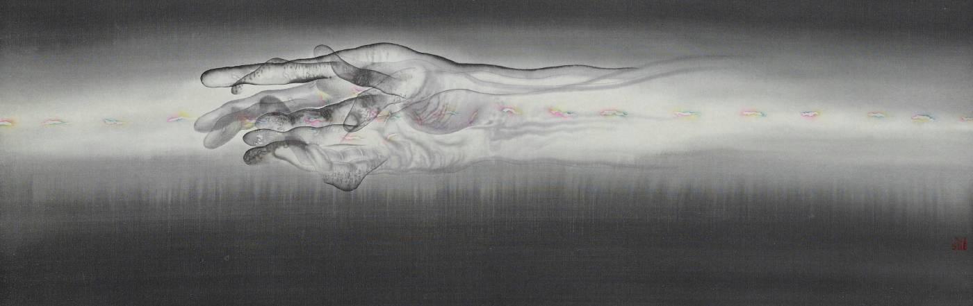 劉信義 / 絕對的光韻指引著在黑暗中迷失的你 Absolute Light Guides You in the Dark水墨絹本設色Colored ink on silk30x92 cm2018