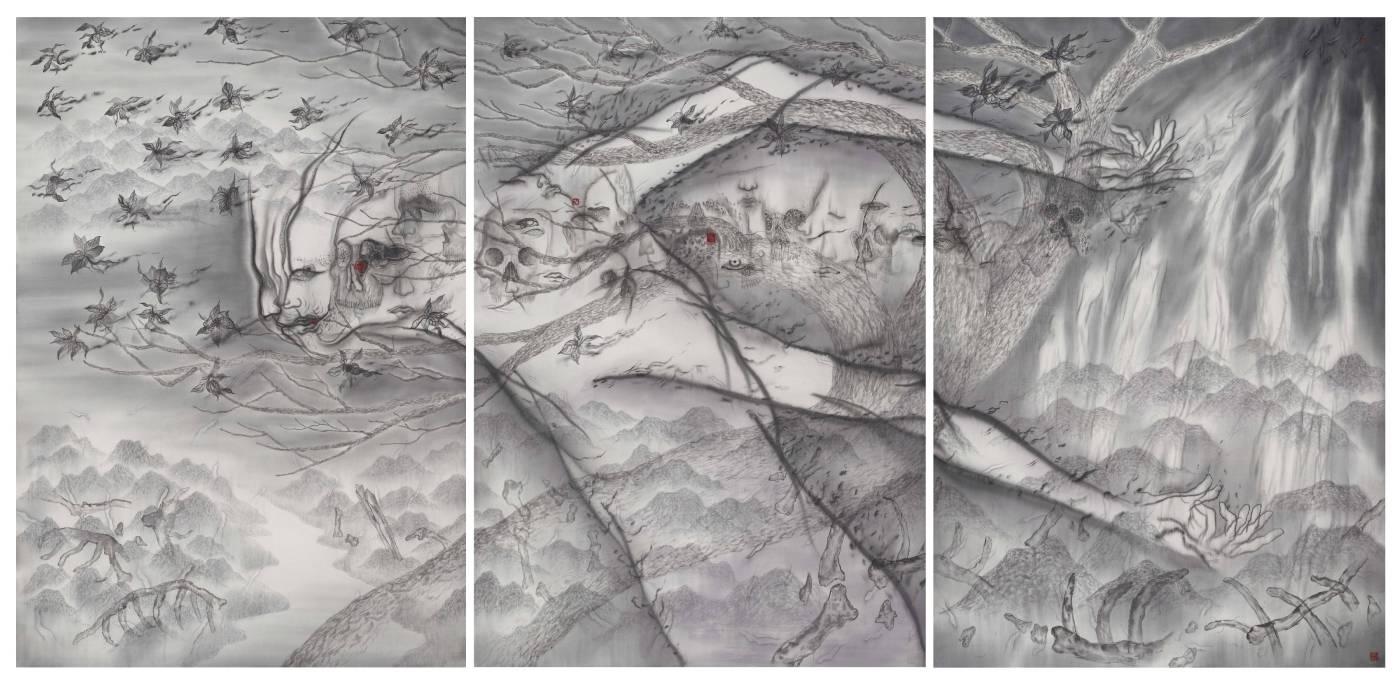 劉信義 / 穿越闇黑的幽光 The Gleam that Passes Through the Dark水墨絹本Ink on silk  190x400 cm2018