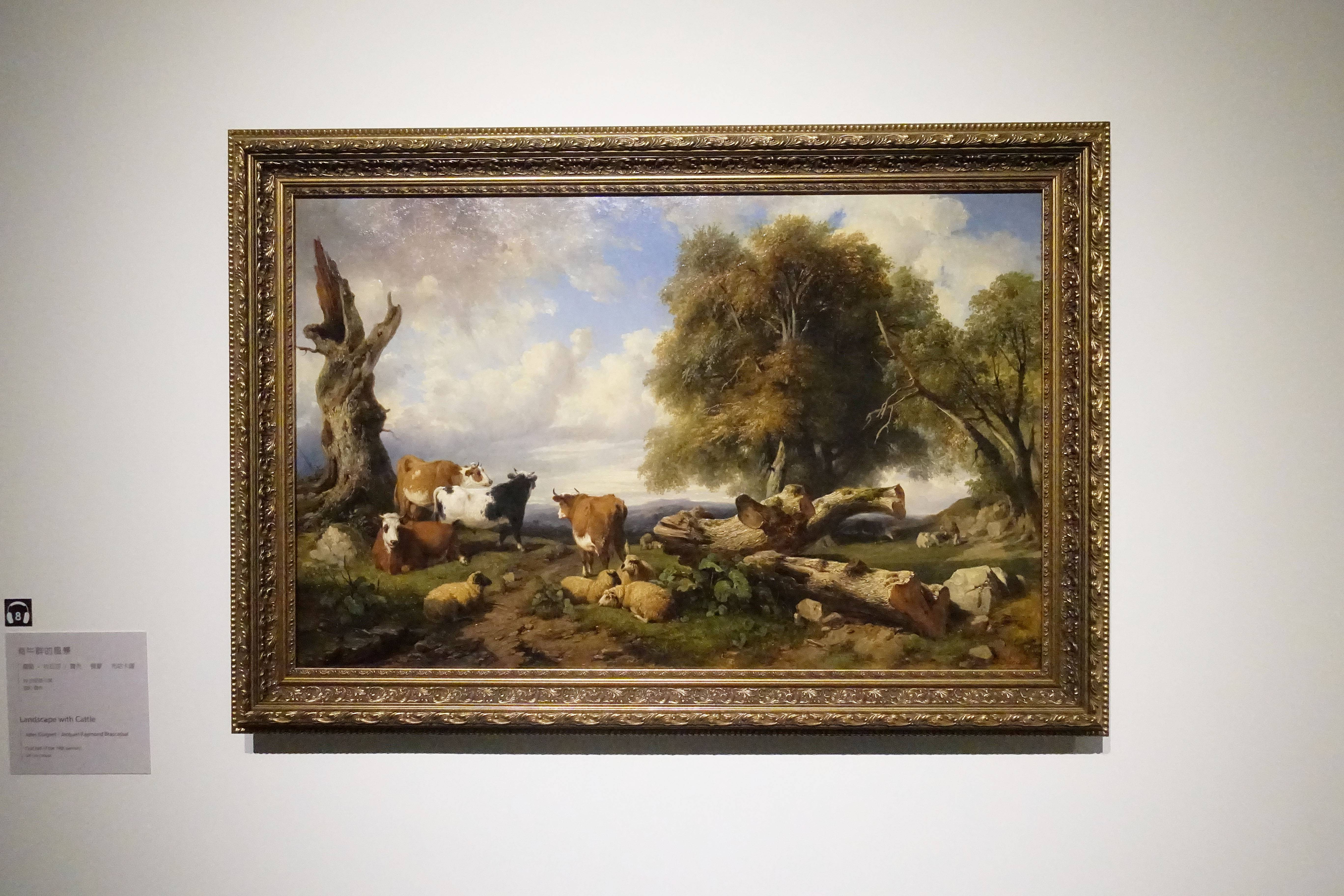 儒勒.科瓦涅 / 賈克-賀蒙.布哈卡薩 Jules Coignet / Jacques Raymond Brascassat  ,《牧場母牛 Landscape with Cattle》,油彩、畫布 Oil on canvas。