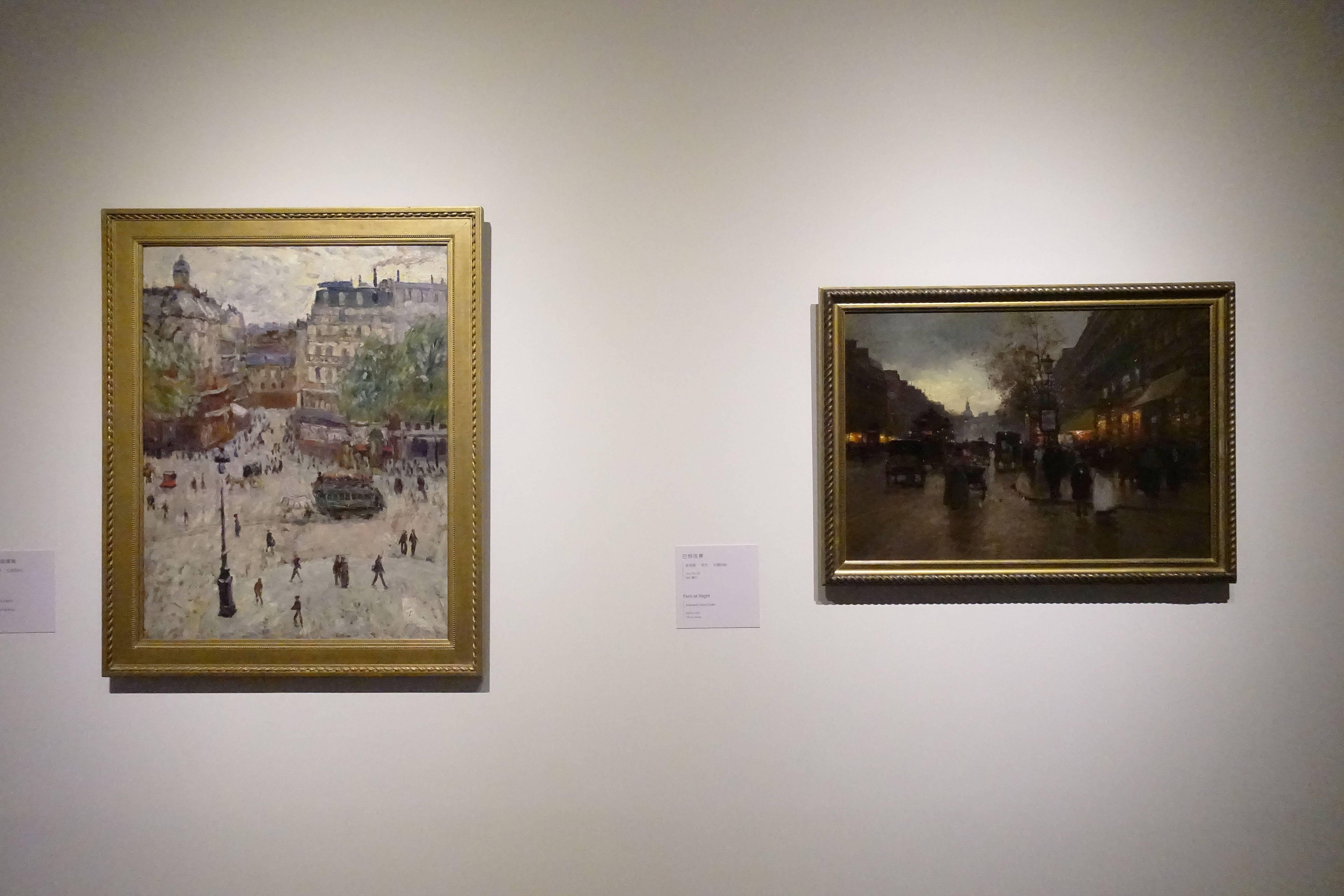 喬治-雷昂.杜弗賀諾瓦 Georges Léon Dufrénoy  ,《巴黎的某個廣場 A Square in Paris》,油彩、畫布 Oil on canvas(左)。愛德華-萊昂.科爾特斯 Edouard-Léon Cortès ,《巴黎夜景 Paris at Night》,油彩、畫布 Oil on canvas(右)。