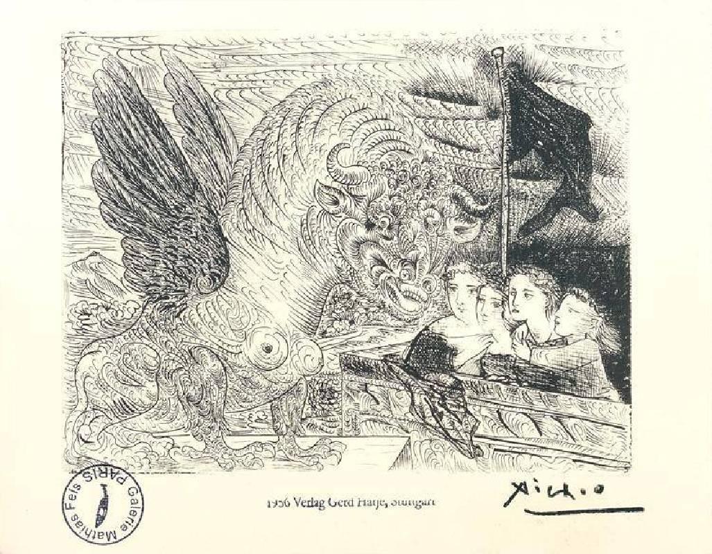 畢卡索,牛,石版重印蝕刻作品《沃拉爾系列》,1956。