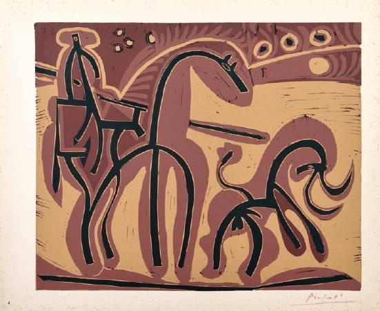 畢卡索,皮爾卡多與公牛,橡膠版,1962。
