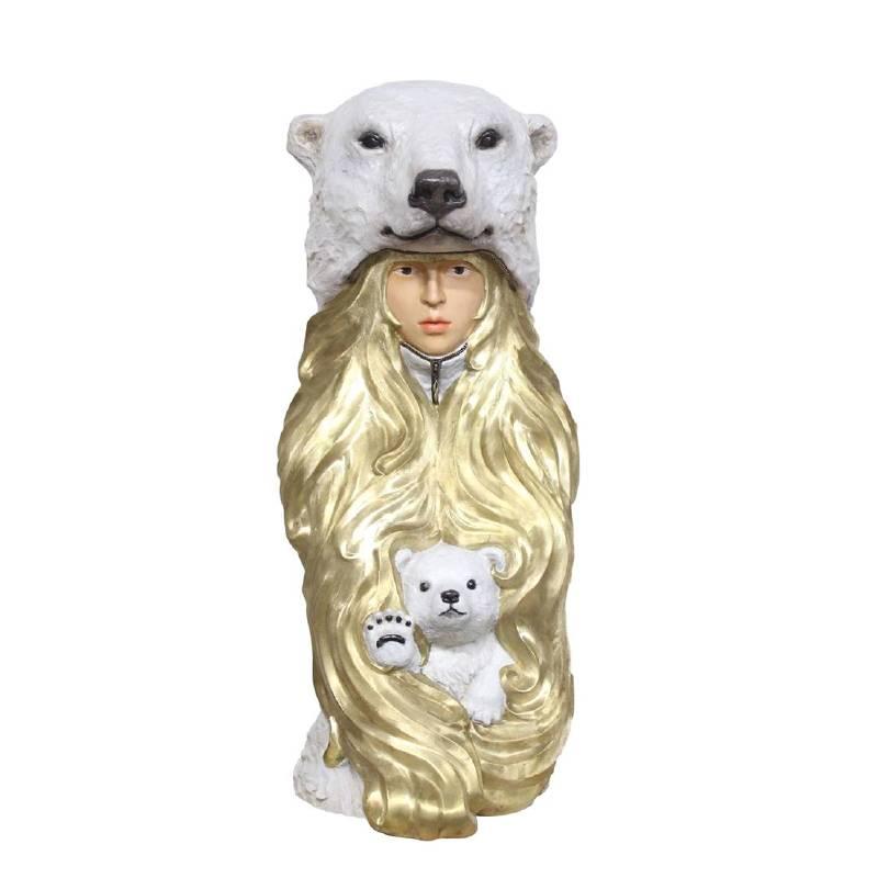 林國瑋│Fivefive Bear│32x32x81cm│銅、油彩上色│2018