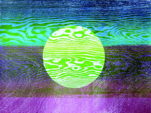 林雪卿, 明月, 56.5x76 cm, 併用版、紙張, 2015