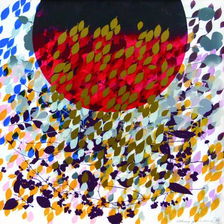 鐘有輝, 提昇, 60x60 cm, 綜合媒材、木板, 1993