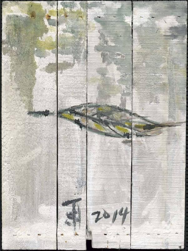豆腐板書畫系列之八 39.5x28.2xH5cm 豆腐板(木板)、壓克力、墨 2015