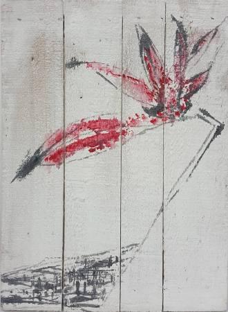 豆腐板書畫系列之十六  39.7x29.2xH5cm 豆腐板(木板)、壓克力、墨 2018