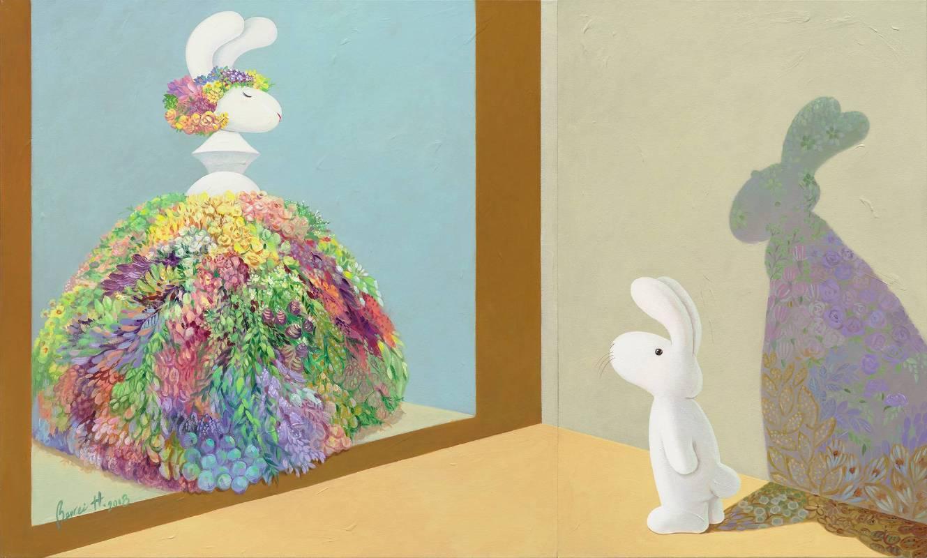 黃本蕊,《人群中自有引領風潮的你》,2018,壓克力顏料/畫布,91.5 x 152.5 cm,set of 2。