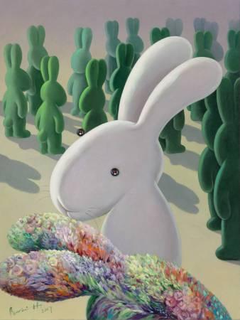 01. 黃本蕊,《少數當家》,2017,壓克力顏料/畫布,122 x 91.5 cm。