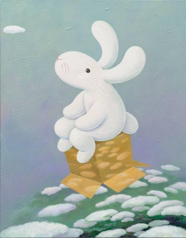 04. 黃本蕊,《夢想宅急便》,2018,壓克力顏料/畫布,71 x 56 cm。