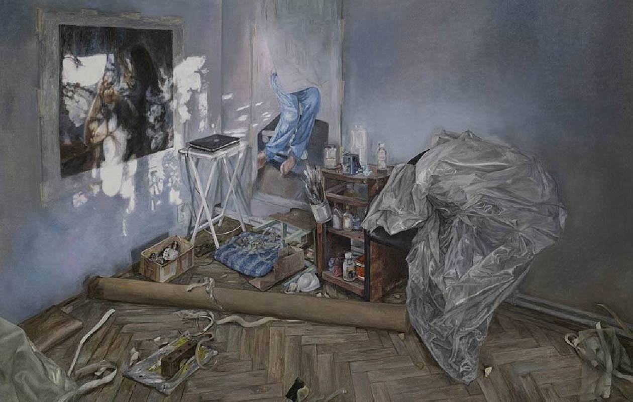 《電燈…… 回應利他的機會》   2018   油彩、畫布  120 x 189 cm