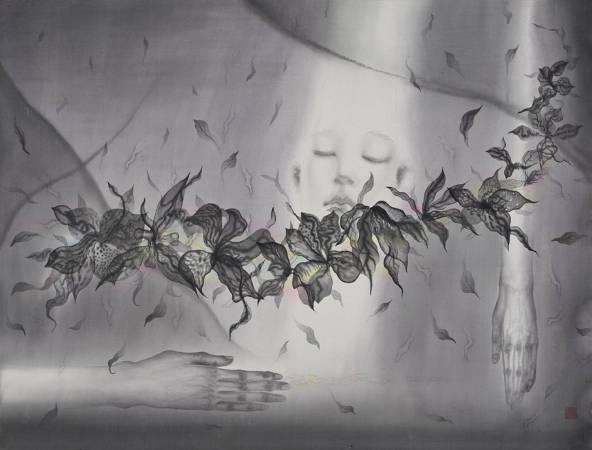 劉信義 / 沉浸在輕柔的香氣裡   Immersing in a Soft Aroma水墨絹本設色 80x107 cm  2018