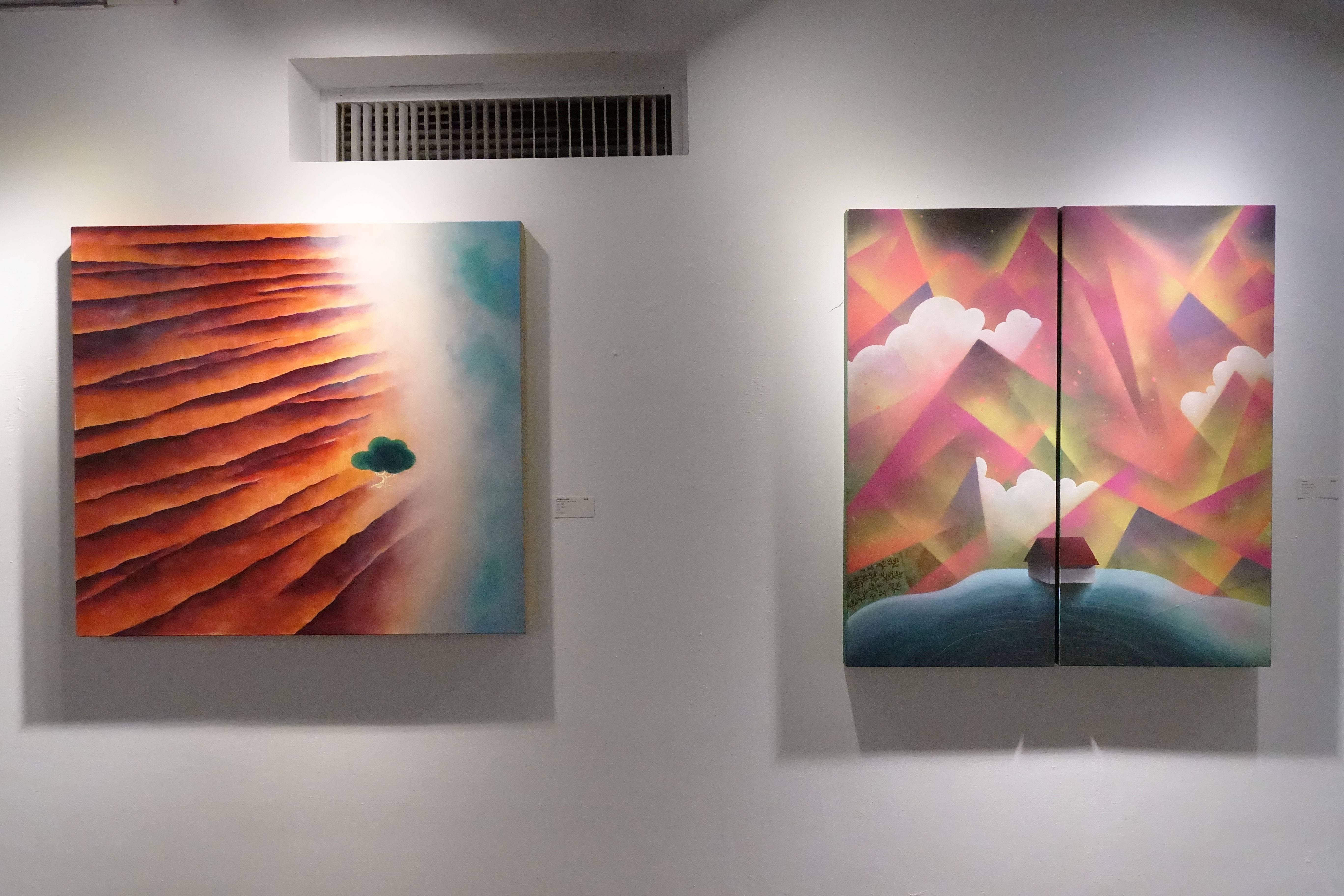 張友鷦,《海邊築夢的一棵樹》(左)《巢》(右),油彩畫布,2018,2014。