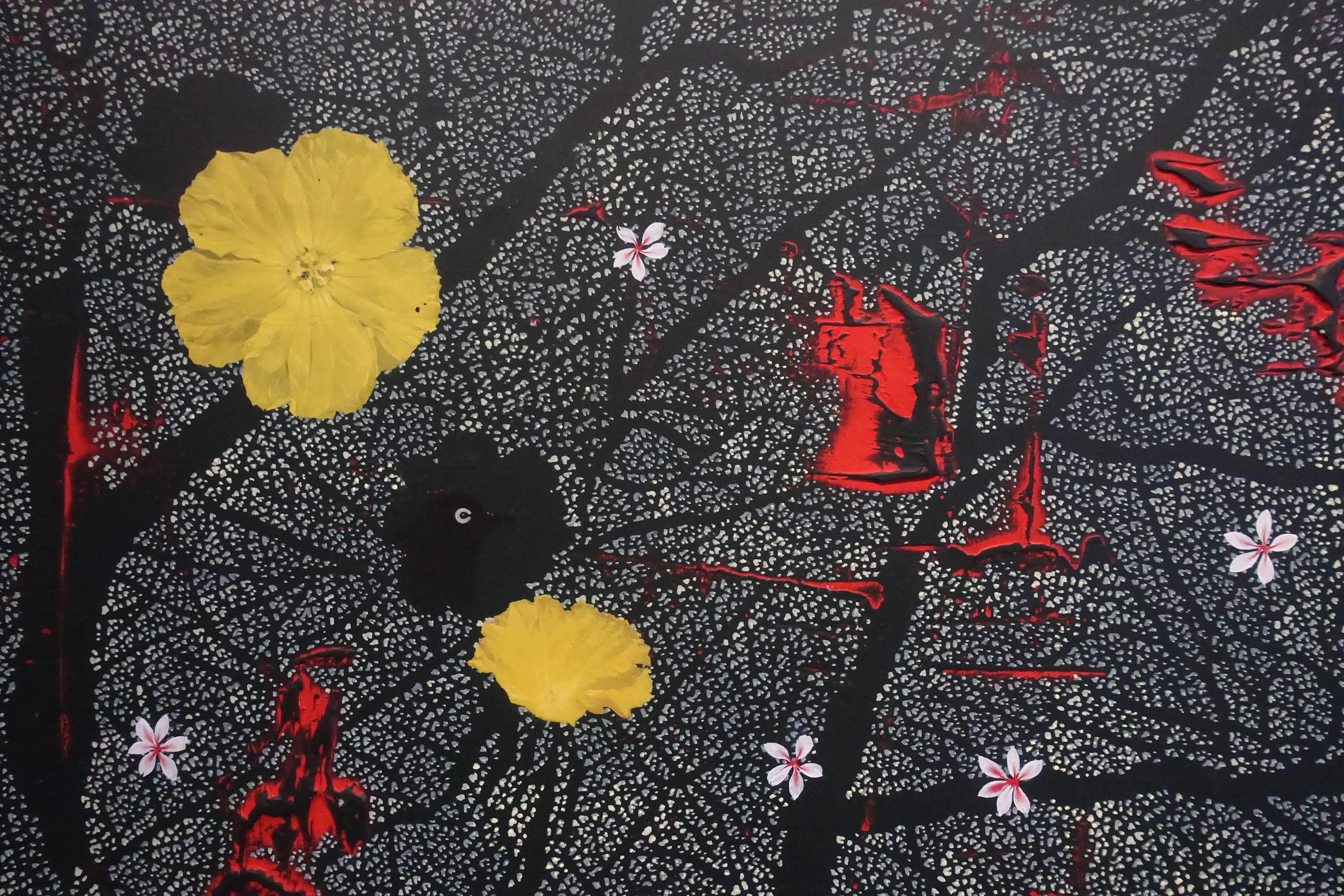 傅作新,《藍天》局部,油彩畫布,2018。