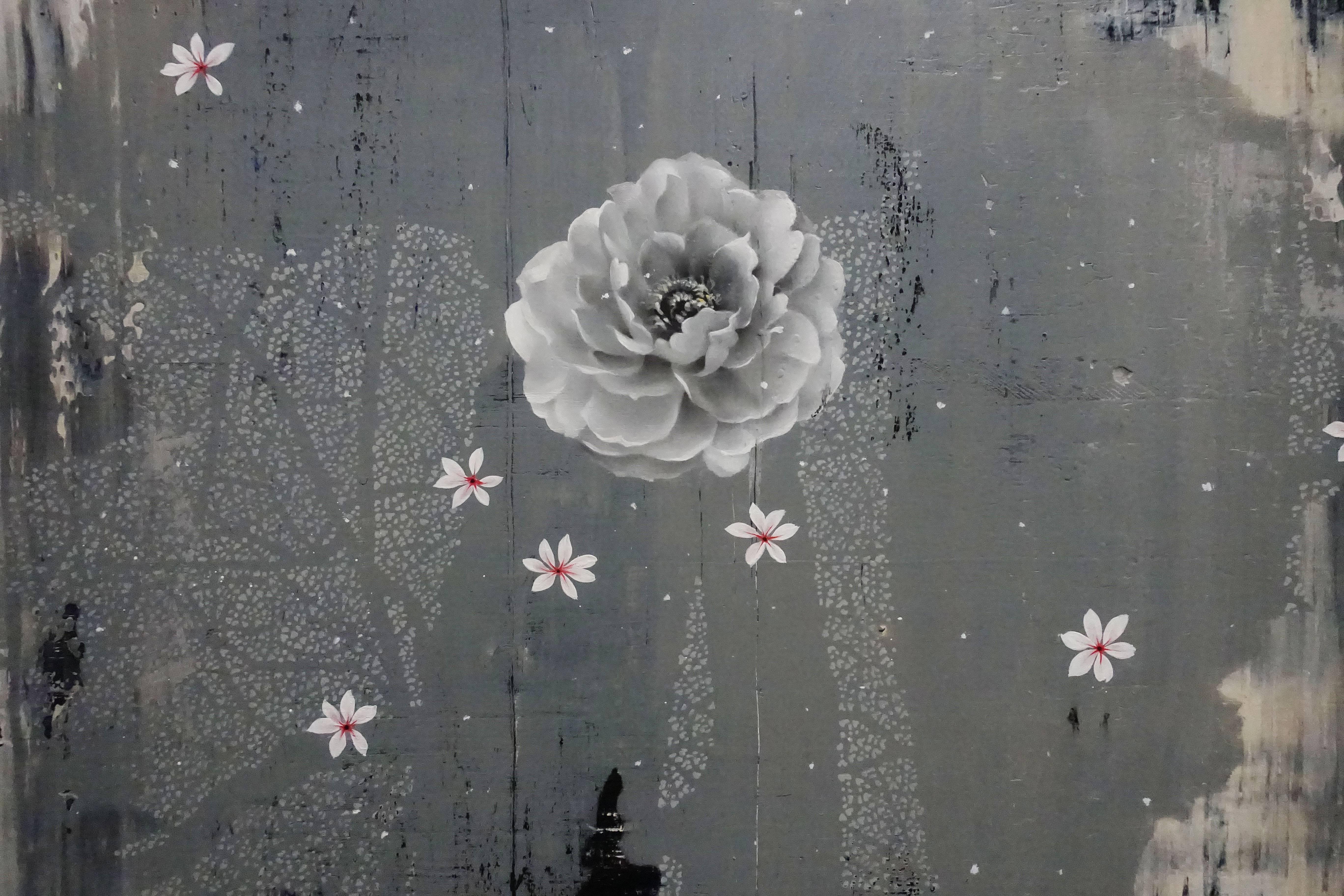 傅作新,《冰雪牡丹》局部,油彩畫布,2018。