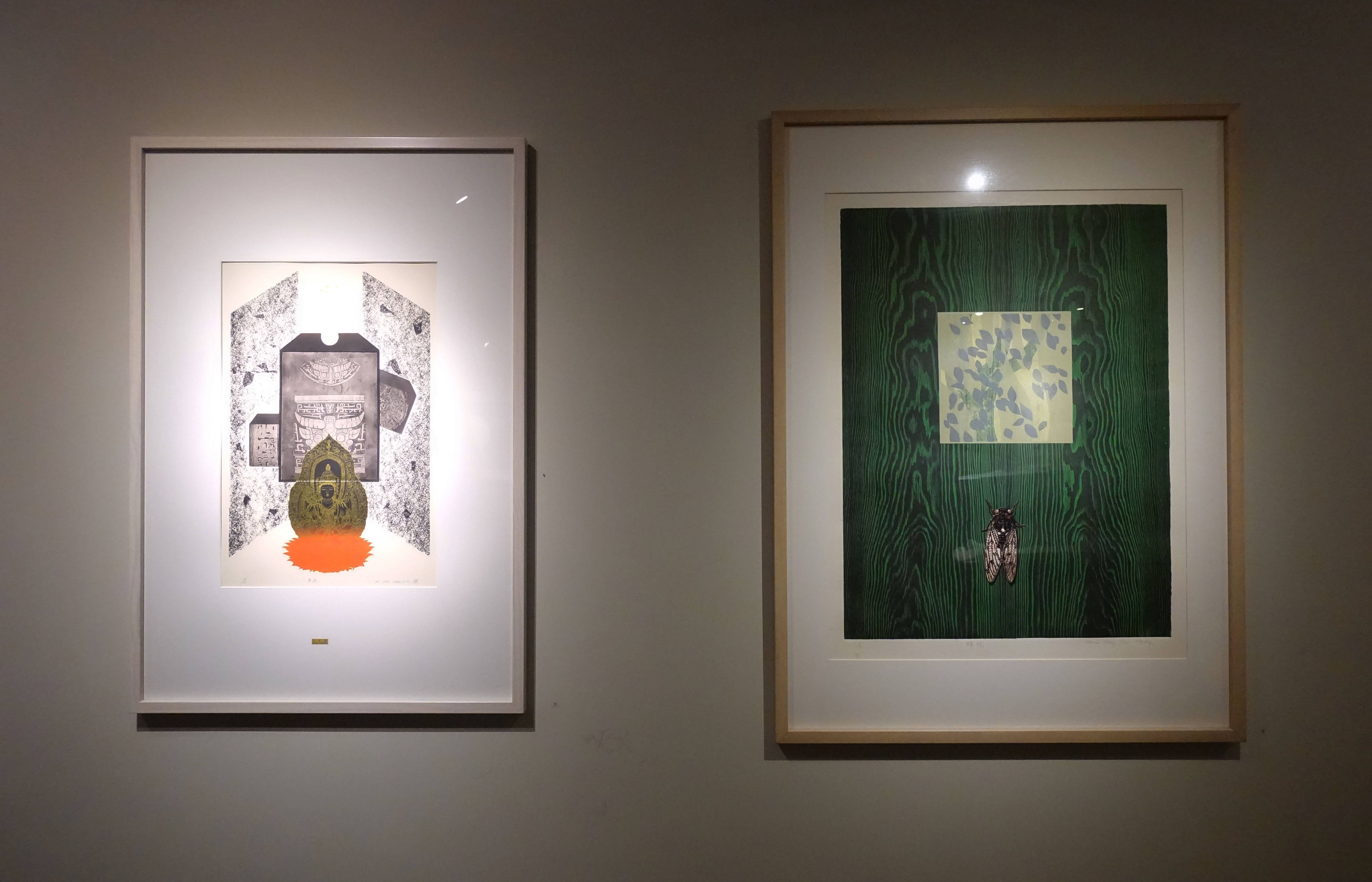 鐘有輝,《平安 Safety》(左),1985,銅板、紙張 Copperplate, Paper。林雪卿,《蟬蛻 Metamorphosis》(右),1995,併用版、紙張 Combined Methods。