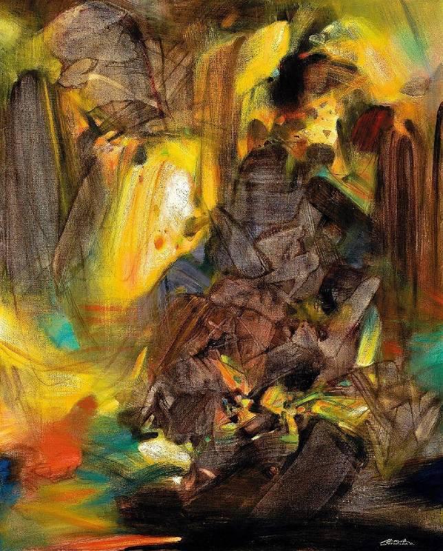 朱德群|甦醒之光|1988|油彩|162x130cm