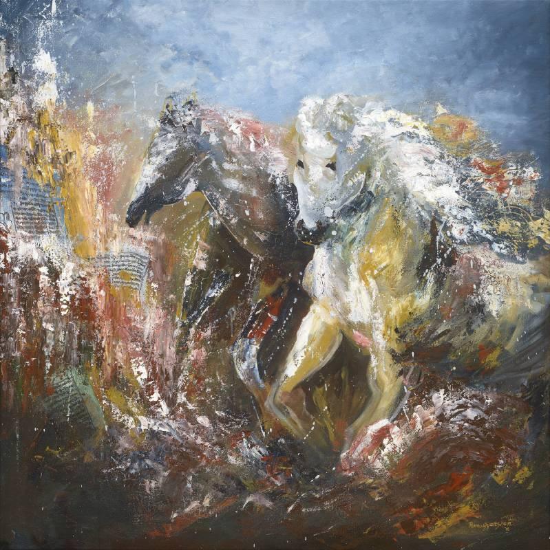 Pema Gyeltshen, THE DIVINE GALLOP 幸運神獸 ,  Acrylic on canvas, 90X90cm, 2017.