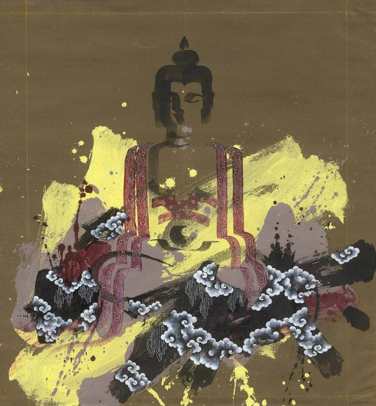Pema Tshering , Half Buddha 2145.11, Acrylic on canvas, 50X61cm , 2018.