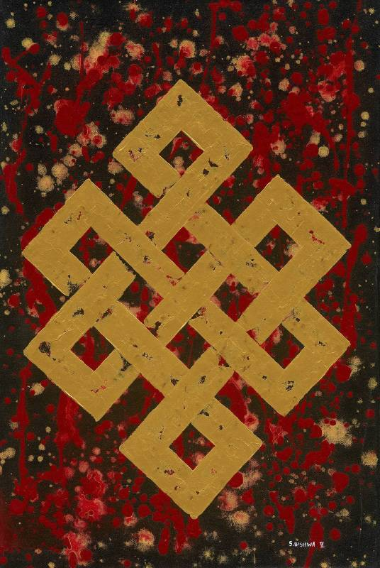 BishwaⅡ, Endless Knot in Red 2145 紅色吉祥結 , Acrylic on Canvas, 40cmX60cm , 2018