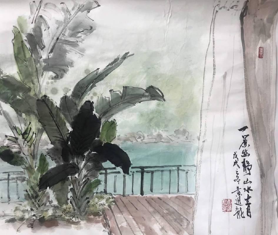 發現馥蘭朵之美-台師大美術系教授黃進龍畫作-一簾幽靜(水墨設色,50*60cm)
